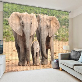 3D Elephant Family in the Grassland Printed Decorative and Blackout Polyester Curtain