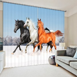 Running Horses High Quality Thick Polyester Living Room and Study Room 3D Curtain