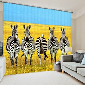 3D Lovely Zebras on Yellow Grassland Printed 2 Pieces Living Room and Bedroom Polyester Curtain