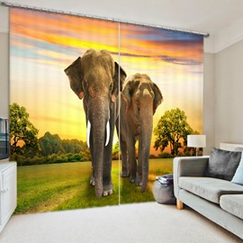 Elephants in the Grassland with Sunset 3D Animal Scenery Printed Polyester Curtain