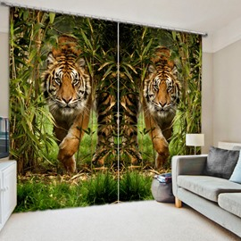 3D Two Symmetrical Tigers in Bamboo Forest Printed Window Decoration Light-Proof Curtain