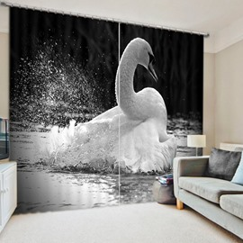 Black and White Art Swan in the Water 3D Printed Polyester Curtain