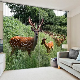 3D Lovely Deer on the Grassland Printed Thick Polyester Bedroom Shading Curtain