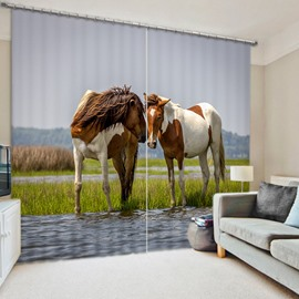 Couple Horses Standing on the River 2 Pieces Window Decoration Shading Curtain