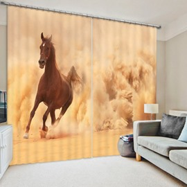 3D Brown Horse Running in the Sand Printed Animal Scenery Blackout Curtain