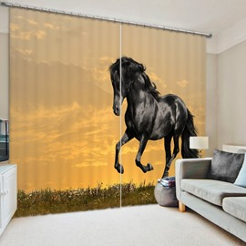 3D Black Horse Running in the Grassland Printed Living Room and Study Polyester Curtain