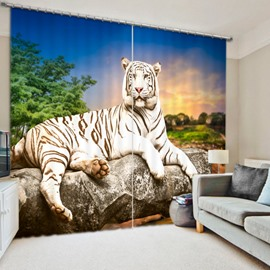 3D White Tiger Printed Thick Polyester 2 Panels Living Room and Study Room Curtain
