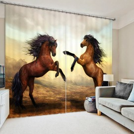 Two Brown Horses Jumping 3D Decorative and Blackout Window Curtain