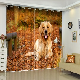 3D Lovely Labrador Retriever Printed Adorable Dog Decorative and Shading Curtian