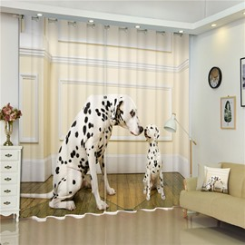 3D Dalmatian Dog with Its Baby Printed Thick Polyester Custom Curtain for Living Room