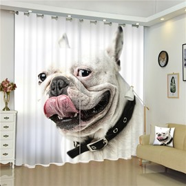 3D French Bull Dog Printed Lovely and Cute Animal 2 Panels Living Room Custom Curtain