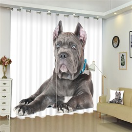3D Big Italian Dog Printed Animal Scenery 2 Pieces Decorative and Blackout Custom Curtain