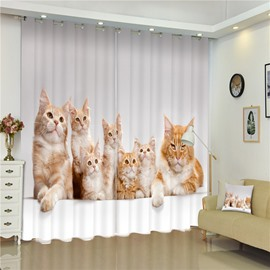 3D Lovely Cat Family Printed Decorative and Blackout Bed Room Window Custom Curtain