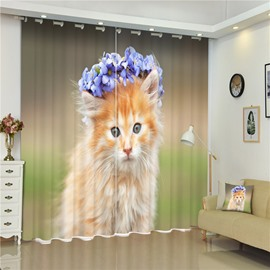 3D Small Cat with Garland of Flowers Printed Living Room and Bedroom Custom Curtain