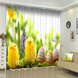 Easter Theme 3D Lovely Small Yellow Chickens and Eggs Pattern Curtain