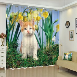 3D Vivid and Lovely Cat with Flowers Printed Thick Polyester Living Room Window Custom Curtain