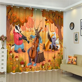 3D Cartoon Wolf Elk and Chicken Happy Dancing with Music Printed Animal Paradise 2 Panels Custom Curtain