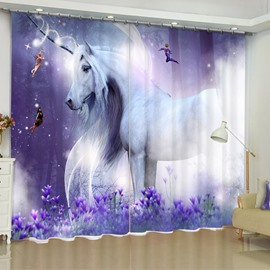 White Unicorn Printed Dreamy Purple 2 Panels Custom Bedroom 3D Curtain