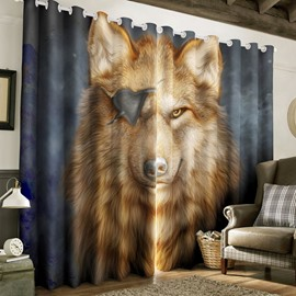 3D Ferocious Wolf with One Eye Printed 2 Panels Custom Living Room Curtain