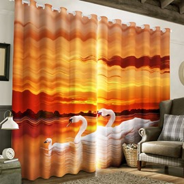 3D Golden Sunset and White Gooses Family Printed 2 Panels Grommet Top Curtain