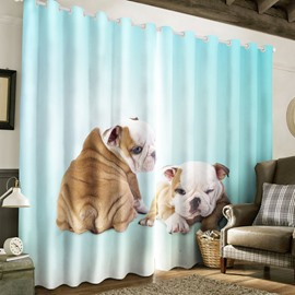 3D Fat Bell Dogs Printed 2 Panels Polyester Grommet Top Custom Curtain