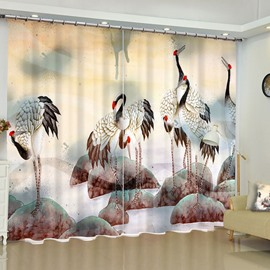 Red-Crowned Cranes on the Stones Printed Water-Color Painting Custom Window Drape