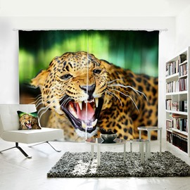 Vivid Fierce Leopard Pattern 3D Animal Painted Polyester Curtain