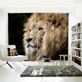 3D Animal Painted Vivid Lion Pattern Polyester Curtain