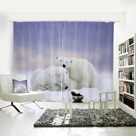 3D Painted Polar Bear in Snowfield Pattern Polyester Curtain