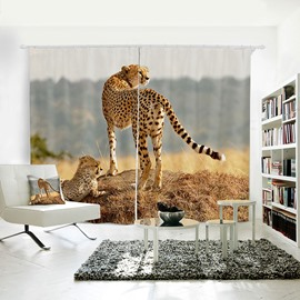 3D Animal Painted Leopard Pattern Symbol of Power Curtain