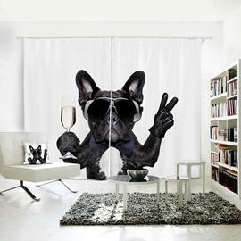 Funny Black Dog V Gesture Pattern 3D Polyester Curtain
