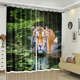 Tiger In the Lake 3D Scenery Curtain For Living Room