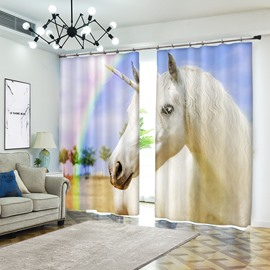Rainbow 3D Unicorn Blackout Decoration Polyester Curtains