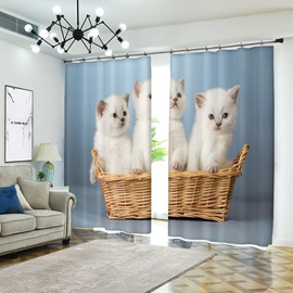 White Kitty Triple Little Cats in Basket 3D Animal Curtain