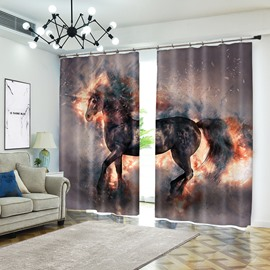Raising in Fire Black Unicorn Vivid Smoke Animal Curtain