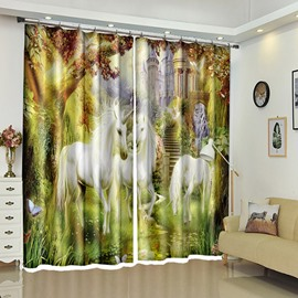 White Unicorns in Castle Surrounding by Trees 3D Curtain