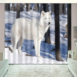 White Wolf In Snow Bold graphics Vivid 3d Print Curtain