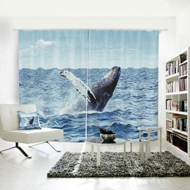 Vivid Whale Pattern 3D Printed Polyester Curtain
