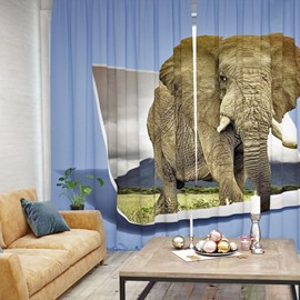 Vivid Elephant Pattern 3D Printed Polyester Curtain