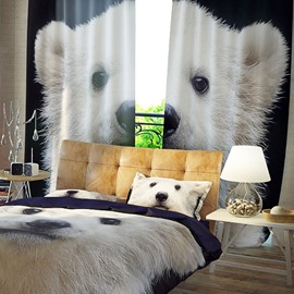 Vivid and Cute Dog Pattern 3D Printed Polyester Curtain