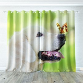 Vivid and Cute Dog with Butterfly Pattern 3D Printed Polyester Curtain