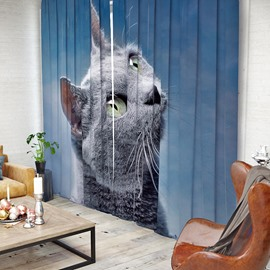 Vivid and Cute Cat Pattern 3D Printed Polyester Curtain