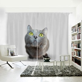 3D Printed Vivid and Cute Cat Pattern Polyester Curtain
