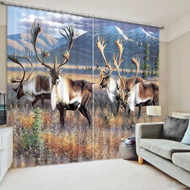 Beddinginn Modern Blackout 3D Deer Pattern Curtain Curtains/Window Screens