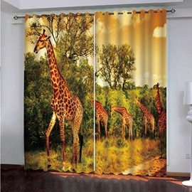 3D Dusk and Foraging Giraffes Printed Decorative Blackout Custom Living Room Curtains