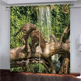 A Leopard on the Branch Waterfall 3D Printed Blackout Custom Living Room Curtains
