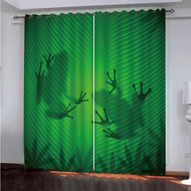 Green Ground Frogs' Shadow Polyester Blackout 3D Curtains
