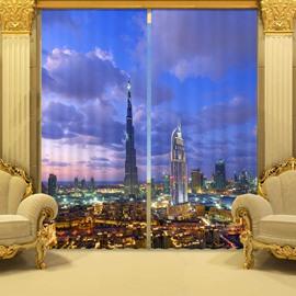 Vivid 3D Tower Blue Sky Pattern Blackout Curtain