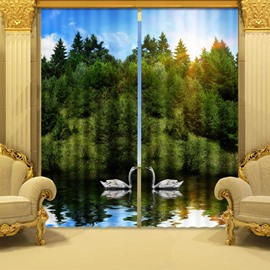 Two Symmetrical White Swans in the River and Thick Forest Decorative 3D Curtains