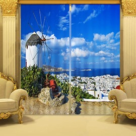 Fantastic 3D Sea And Castle 2 Panels Blackout Curtain